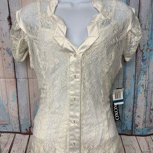 Xoxo NWT Ivory Sz XL Lace Button Up Short Sleeve